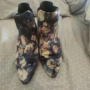 Top Shop Velvet Ankle Boots